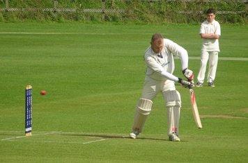 David Goodjohn Batting for Geddington Sunday XI V Open University Sunday XI At Geddington Cricket Club. 18th August 2019.