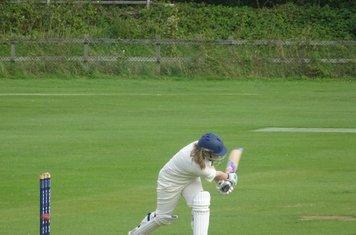 Hanna McDade Batting for Geddington Sunday XI V Open University Sunday XI At Geddington Cricket Club. 18th August 2019.