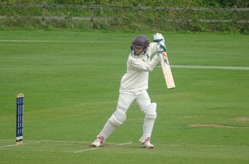 Daniel McDade Batting for Geddington Sunday XI V Open University Sunday XI At Geddington Cricket Club. 18th August 2019.