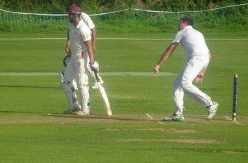 Chris Murdoch Bowling for Geddington 1st XI V Brigstock 1st XI At Geddington Cricket Club. 24th August 2019.