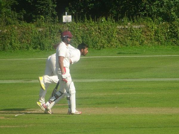 Adil Arif Bowling for Geddington 1st XI V Brigstock 1st XI At Geddington Cricket Club. 24th August 2019.