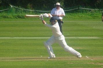 Ben Silver Batting for Geddington 1st XI V Brigstock 1st XI At Geddington Cricket Club. 24th August 2019.