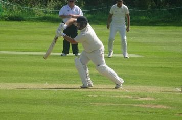 Chris Harrison Batting for Geddington 1st XI V Brigstock 1st XI At Geddington Cricket Club. 24th August 2019.