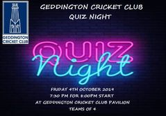 Geddington Cricket Club Quiz Night - Friday 4th October 2019.