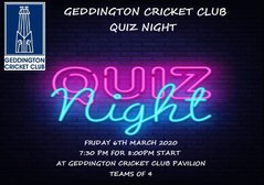 Geddington Cricket Club Quiz Night - Friday 6th March 2020.