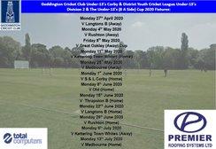 Geddington Cricket Club Under-13's 2020 League & Cup Fixtures Released: