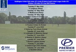 Geddington Cricket Club Under-15's 2020 League & Cup Fixtures Released: