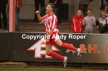 Strictly come Stourbridge! Drew performs a pirouette after scoring the Glassboys opener!