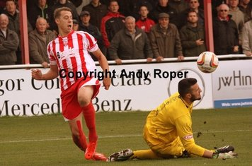 The rebound goes against the Stourbridge man.