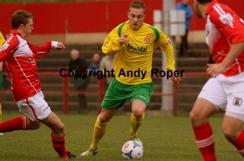Jordan attacks the Workington defence; in this case he got chopped down!