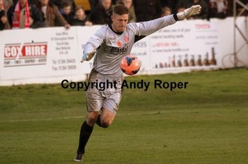 Dean prepares to start another assault on the Biggleswade goal.....