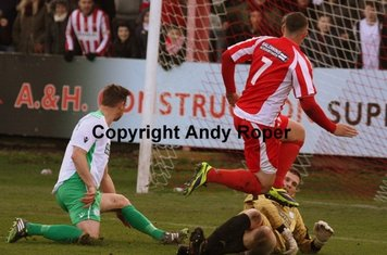 Ryan fires home the second goal beyond visiting 'keeper Ian Brown.....