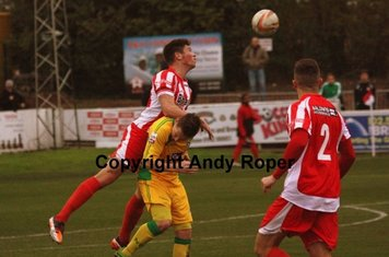 Will wins this aerial battle with the North Ferriby forward line.