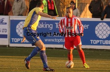 Luke attacks the Weymouth goal.....