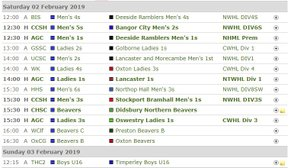 Fixtures this Weekend - Saturday 2nd February and Sunday 3rd February
