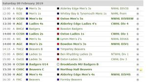 Fixtures this Weekend - Saturday 9th February