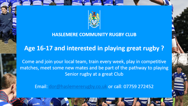 Age 16-17 and interested in playing great rugby ?