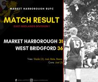 Match Report | Market Harborough 1st XV 33 - 36 West Bridgford 1st XV