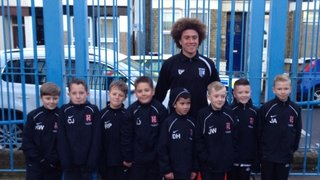 PSA Invited Their U10s Youth Players To Be Ball Boys At The Gillingham V Leyton Orient Match 26/12/13 Players Pictured With Former TYFC Player And Current Gillingham Scholar Dan Bent