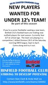 U12s Teams looking for new players 2017-18 Season