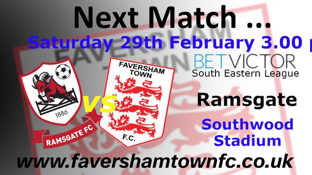 NEXT MATCH: Ramsgate vs. Faversham Town