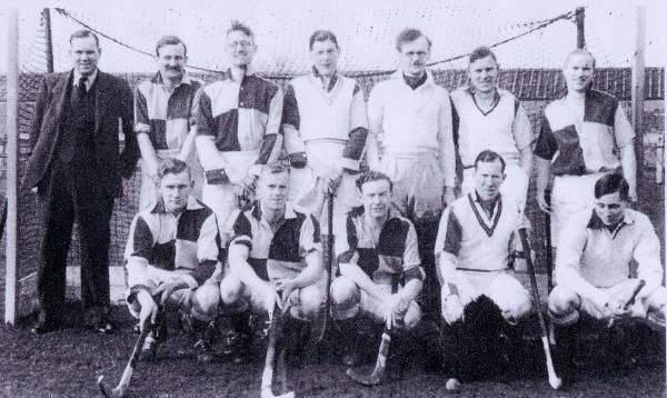 Late 1930's Thirsk Hockey Club. Note Racecourse Stables behind. Back Row: Harry Bulmer, Peter Consett, unknown, unknown, Reg Horner, Bill Potter, Reg Edwards Front Row: Jim Ingledew, Alf Rutherford, unknown, John Bielby, unknown