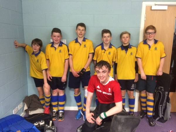 U16 Boys Indoor team: Sunday 14th Dec:   Left to right: Sam, Will W., Oliver, James, Paddy, Ben Front: Will M. (GK and capt)