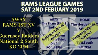 WEATHER UPDATE -  Rams teams in league action Saturday 2nd February 2019