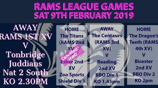 Rams teams in league action Saturday 9th February 2019