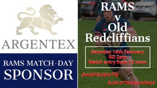 RAMS 1st XV v OLD REDCLIFFIANS  RFC - Sat 16th February 2019