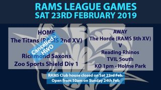 Rams teams in league action Saturday 23rd February 2019