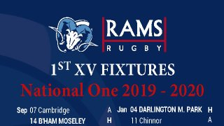 RAMS 1st XV NAT 1 Fixtures - GREAT Season Ticket Offer