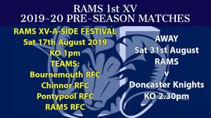RAMS 2019-20 PRE-SEASON FESTIVAL SAT 17th AUGUST - UPDATE
