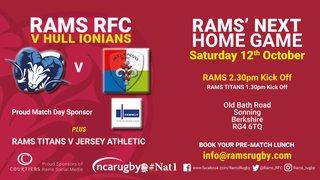 RAMS 1st XV v HULL IONIANS Sat 12th Oct 2.30pm