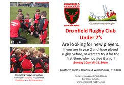 Dronfield Under 7's looking for new players.