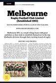 Melbourne RFC Features in Rugby Club Magazine
