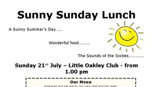 Super Sunny Sunday Lunch 21st July 2019 At The Little Oakley Club