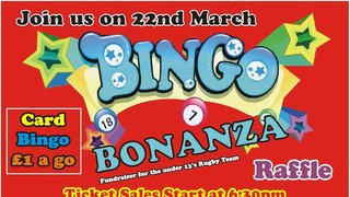 Attention all you Bingophiles, we are holding a Bingo Bonanza at West Leeds on 22 March