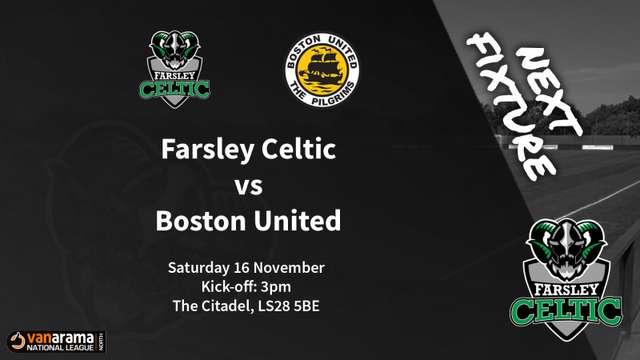 Matchday Information: Farsley Celtic vs Boston United (16/11/2019)