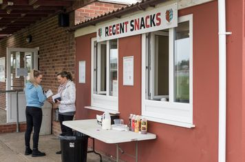 A cheery snack bar