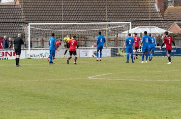 ...and Jake Turner reaches the ball unchallenged...