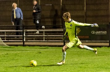 A difficult evening for the young Lowestoft goalkeeper, Mitchell Ware