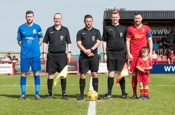 Captains Mark McLeod and Gareth Heath, the Mascot and Officials
