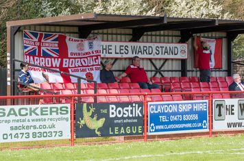 The Borough supporters settle down for the second half...