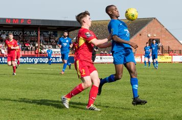 ...Chinua Cole comes away with the ball...