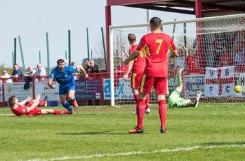 Final score 1 - 0 to Harrow. Ryan Moss celebrates the crucial goal