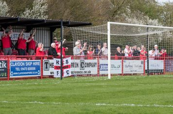 The Borough travelling supporters applaud another good win...