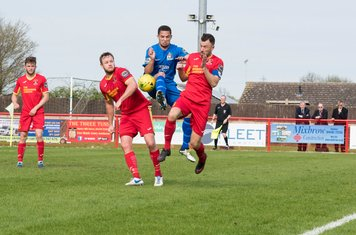 Sub Anthony O'Connor leaps for the ball