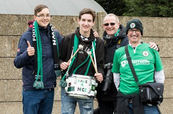 The Burgess Hill supporters are in good spirits at half time...