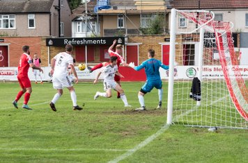 A goalmouth scramble